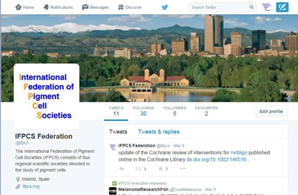 @ifpcs = the new twitter account for the International Federation of Pigment Cell Societies (IFPCS)